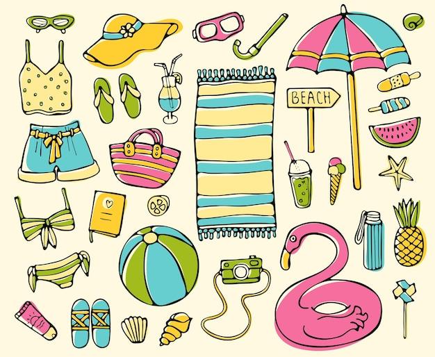 Letnie elementy doodle zestaw