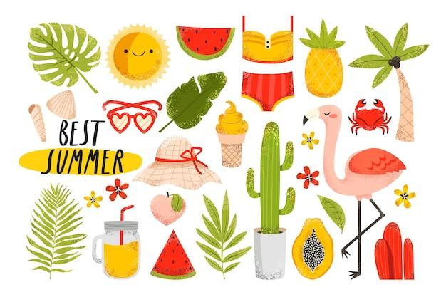 Letnie elementy flamingo, owoce, tropikalne liście, lody, kostium kąpielowy, palma, lemoniada na białym tle. ładny zestaw naklejek letnich.