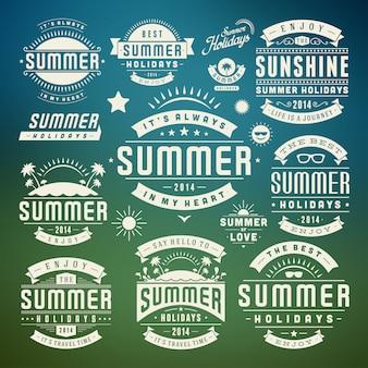 Letnie elementy i symbole typograficzne etykiety i odznaki