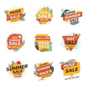 Letnie etykiety sprzedaży origami
