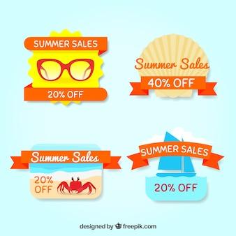 Letnie etykiety sprzedaży z ozdobnymi wstążkami pomarańczowymi