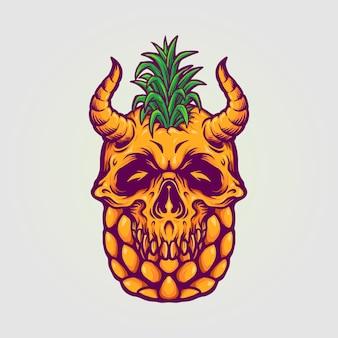 Letnie ilustracje czaszki ananasa