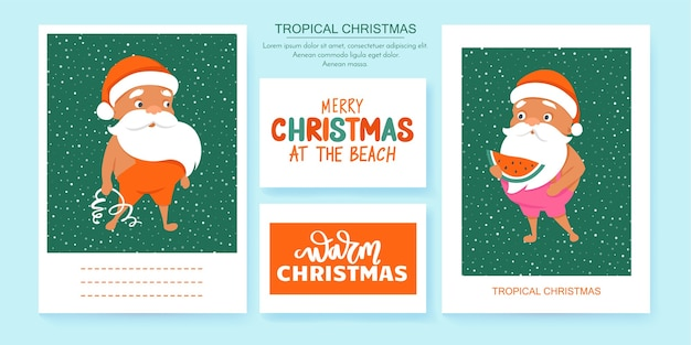 Letnie kartki z życzeniami mikołaja. tropikalne święta bożego narodzenia i szczęśliwego nowego roku w ciepłym klimacie. śliczne plakaty ze świętym mikołajem.
