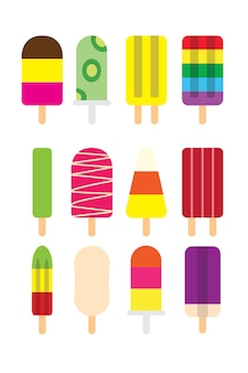 Letnie kolorowe lody popsicles z mlekiem, czekoladą, miętą i mrożonym sokiem owocowym o smaku płaskiej konstrukcji ikona symbol kolekcji.