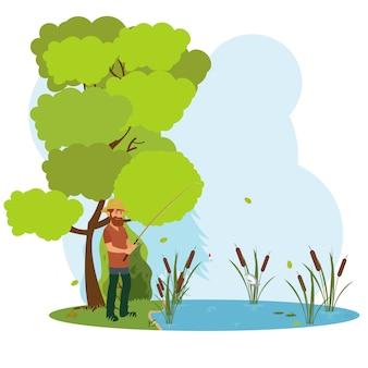 Letnie krajobrazy: namiot i ogień w tle gór, las. turystyka i biwakowanie. odpocznij nad jeziorem lub rzeką.