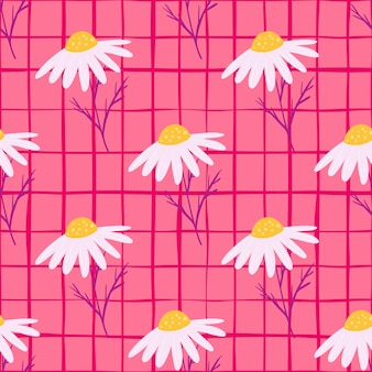 Letnie kwiaty pola wzór z ozdobnym ornamentem kwiatów stokrotek