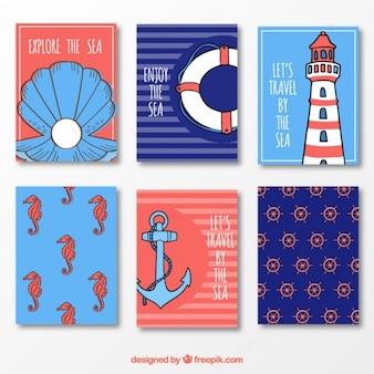 Letnie ładne karty w kolorze niebieskim i czerwonym