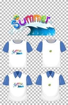 Letnie logo czcionki z wieloma rodzajami koszul na przezroczystym tle