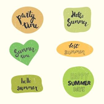Letnie naklejki wektor zestaw odręczne cytaty