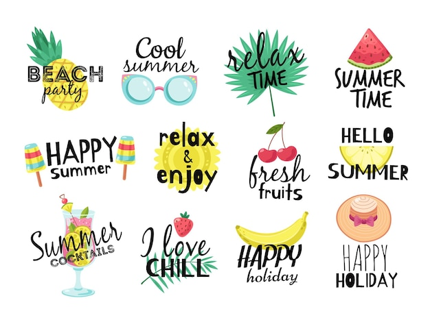 Letnie napisy. koktajl, słońce i świeże owoce, lody