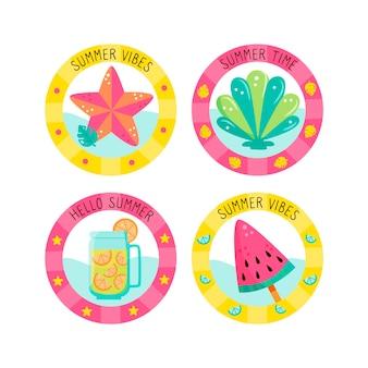 Letnie odznaki z lodami i napojami