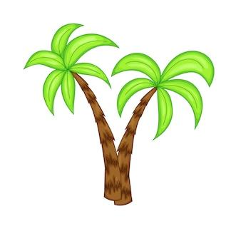 Letnie palmy na białym tle.