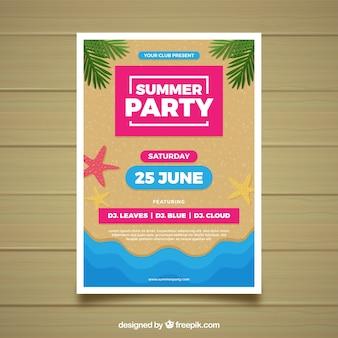 Letnie party plakat z plaży