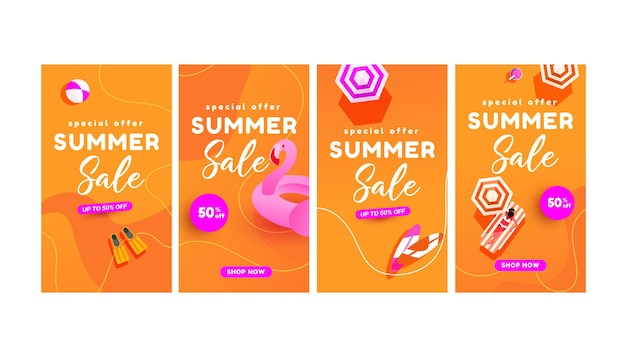 Letnie plakaty z rabatem w gorącym sezonie