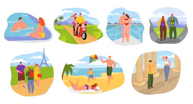 Letnie podróże, turyści na wakacjach zestaw ilustracji ludzi. podróżni sezonowi rekreacja, wycieczka przygodowa i piesze wycieczki. tropikalny kurort nadmorski, podróżowanie po słynnych miastach i turystyka.