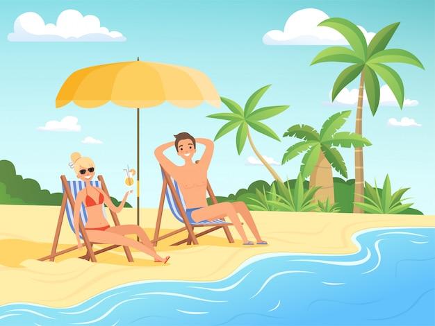 Letnie postacie. mężczyzna i kobieta odpocząć na plaży kreskówka nadmorski tło letnie wakacje