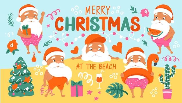 Letnie postacie świętego mikołaja. tropikalne święta bożego narodzenia i szczęśliwego nowego roku w ciepłej, klimatycznej kolekcji. ładny święty mikołaj i napis - wesołych świąt na plaży