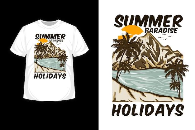 Letnie rajskie wakacje ręcznie rysowane projekt koszulki