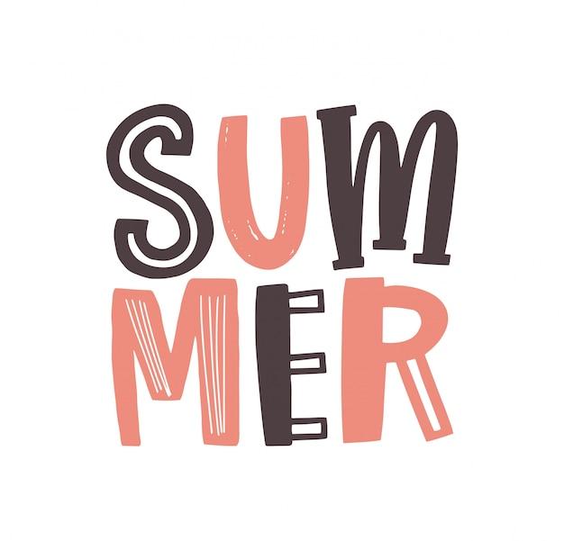 Letnie słowo napisane fajną funky kaligraficzną czcionką. kreatywne napisy na lato