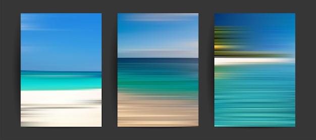 Letnie tła ustawione kreatywne gradienty w letnich kolorach ocean horyzont plaża i zachody słońca