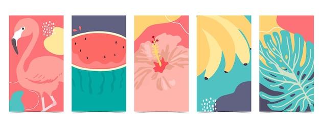 Letnie tło dla mediów społecznościowych.zestaw historii na instagramie z flamingiem, arbuzem, bananem