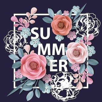 Letnie tło z abstrakcyjnymi papierowymi kwiatami kwiatowym tle szablon vector