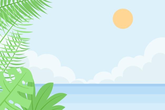Letnie tło z widokiem na plażę zza kwiatowymi liśćmi