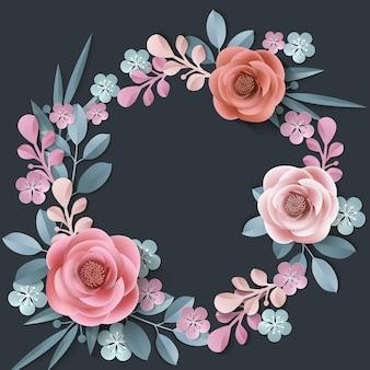 Letnie tło z wieńcem abstrakcyjnych papierowych kwiatów kwiatowym tleszablon wektor