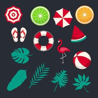 Letnie tropikalne liście plaża flamingo element graficzny do dekoracji