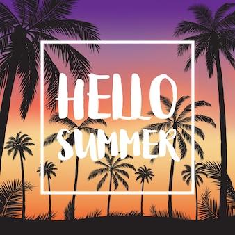 Letnie tropikalne tła z palmami