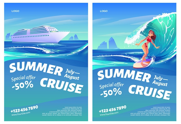 Letnie ulotki wycieczkowe z dziewczyną statku i surferki.
