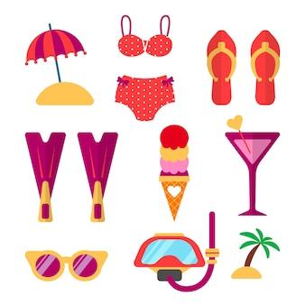 Letnie wakacje akcesoria i ubrania plażowe wektor zestaw. artykuły na wakacje i podróże: fajka, bikini, stroje kąpielowe, okulary i inne elementy. ilustracja płaski.