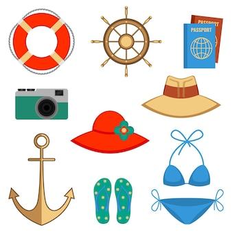 Letnie wakacje akcesoria wektor ilustracja na białym tle. zestaw z elementami nakrycia głowy i kostiumem kąpielowym, aparatem fotograficznym i kierownicą, koło ratunkowe