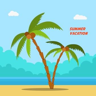 Letnie wakacje. banery w stylu kreskówki z palmami i plażą. wizerunek