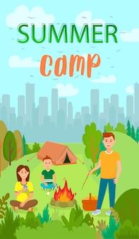 Letnie wakacje, camping płaskie ulotki z napisem.