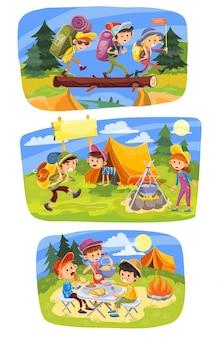 Letnie wakacje dla dzieci. grupa dzieci iść wycieczkować przy naturą z plecakiem
