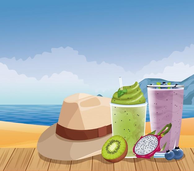 Letnie wakacje i plaża w stylu kreskówki
