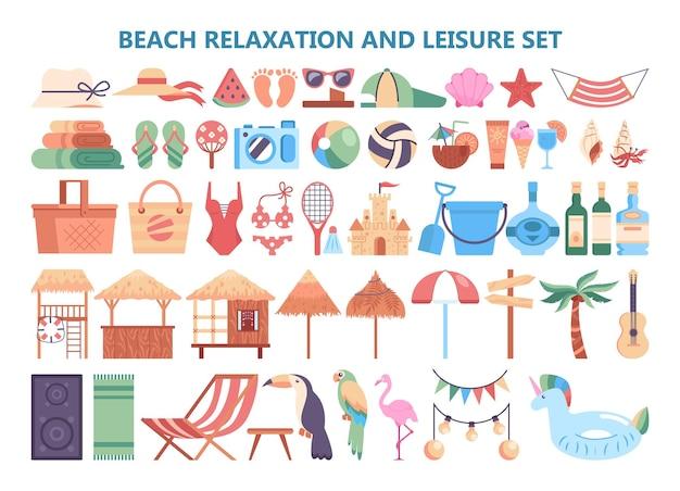 Letnie wakacje i zestaw elementów wypoczynku na plaży. obiekty do wypoczynku na plaży i kąpieli w morzu. konstruktor turystyczny na letni wypoczynek. aktywny styl życia. płaska ilustracja wektorowa