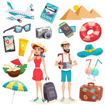 Letnie wakacje ikony ustaw