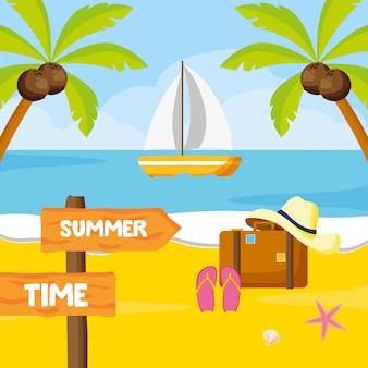 Letnie wakacje. ilustracja tropikalnej plaży