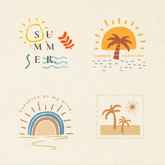 Letnie wakacje kolorowe odznaki wektor t-shirt nadruk elementów kolekcji