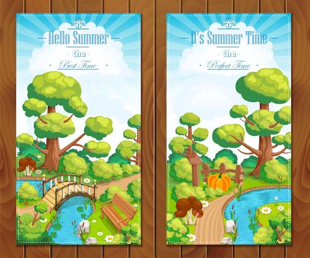 Letnie wakacje krajobrazy pionowe banery ilustracja