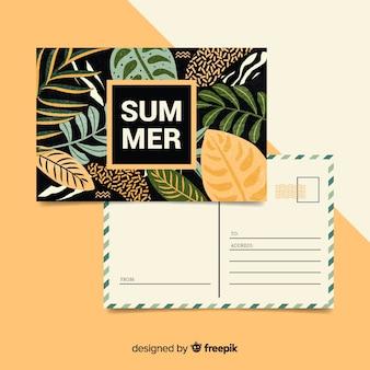 Letnie wakacje liście pocztówka