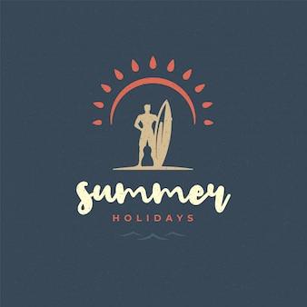 Letnie wakacje logo typografia slogan design