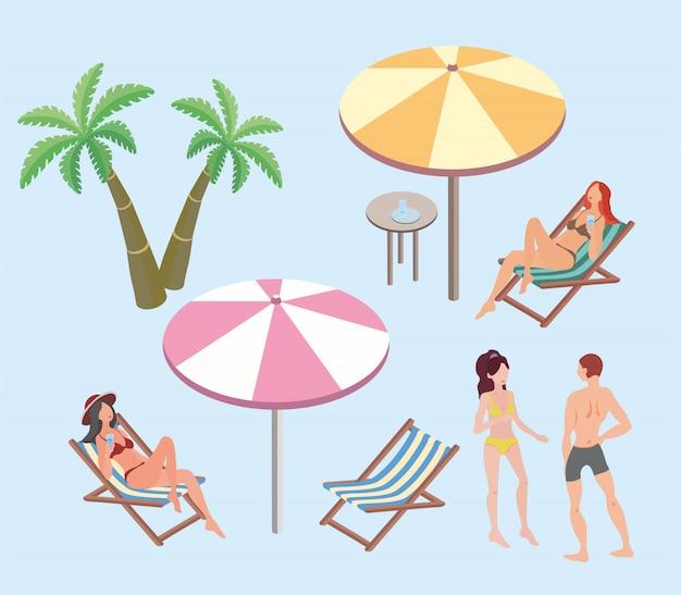 Letnie wakacje, miejscowość nadmorska. kobiety i mężczyzna odpoczywa na plaży. parasole plażowe, leżaki, palmy. ilustracja.