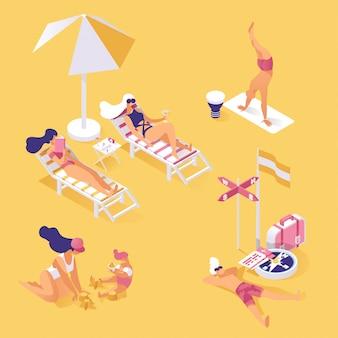 Letnie wakacje na brzegu izometrycznej ilustracji. ludzie cieszą się wakacjami w lecie