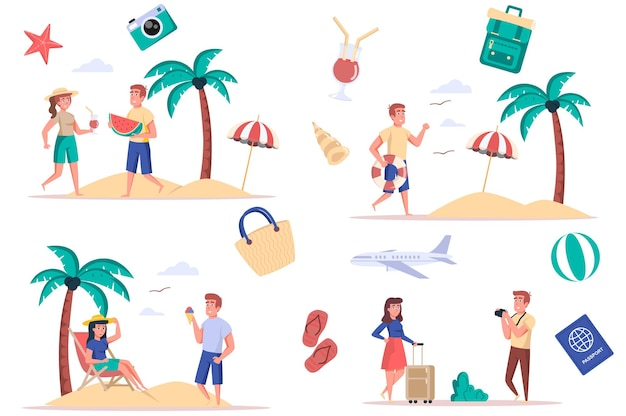 Letnie wakacje na morzu zestaw izolowanych elementów wiązka ludzi odpoczywających na plaży jedzących arbuza