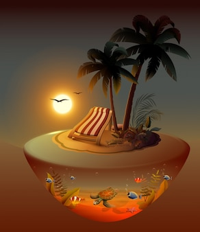 Letnie wakacje na tropikalnej wyspie w nocy pod palmami.