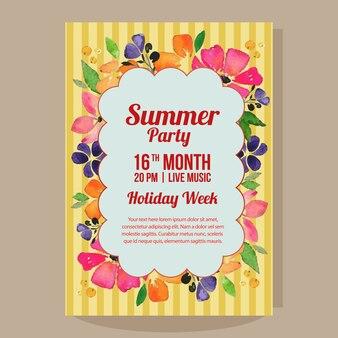 Letnie wakacje party plakat z ilustracja kwiat akwarela