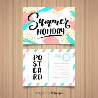 Letnie wakacje pastelowy kolor pocztówki